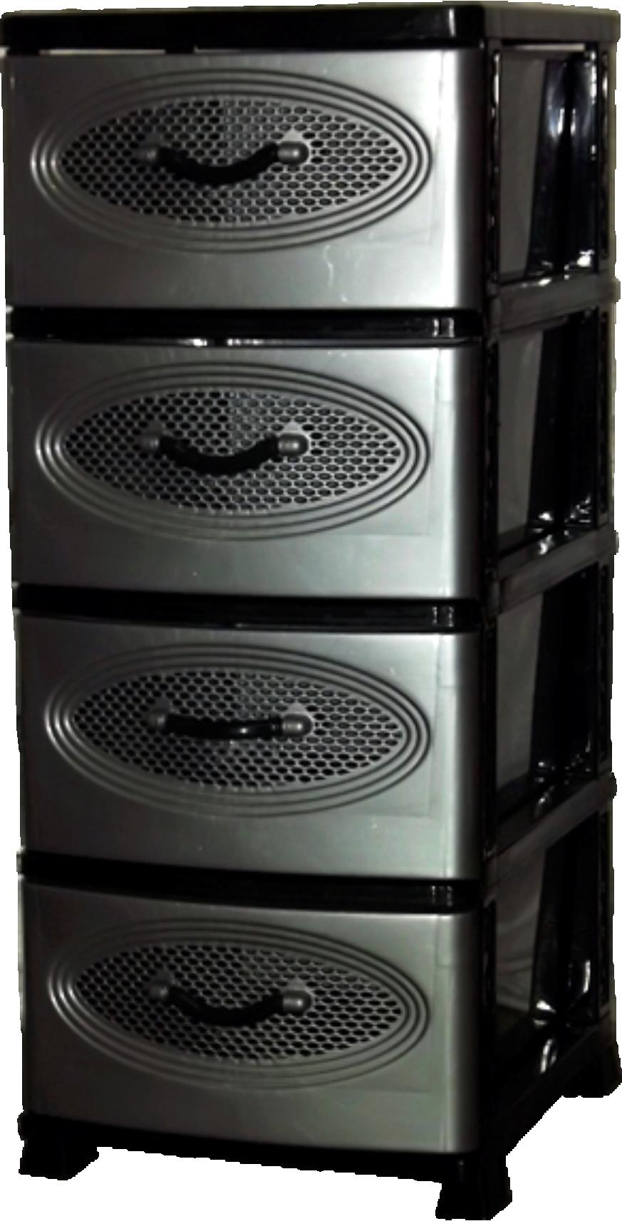 Комод Эирбокс 4-х секционный черно-серебристый