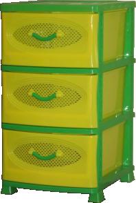 Комод Эирбокс 3-х секционный желто-зеленый
